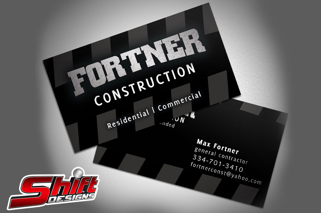 Fortner construction business cards vehicle wraps dothan fortner construction business cards1 reheart Choice Image